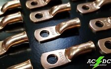 """(25) 8 gauge Ring 1/4"""" Hole Terminal BATTERY Lug Bare Copper Un-insulated AWG"""
