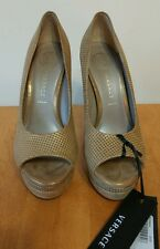 Versace Perforated Gold Leather Peep Toe Platform Pumps, NEW Size 36.5