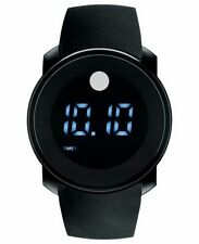NIB Movado 3600144 Bold Touch Screen Digital Dual Time Black Silicone Mens Watch