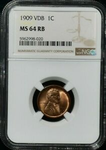 1909 VDB LINCOLN WHEAT CENT NGC MS 64 RB BEAUTIFUL COLOR APPEAL GEM