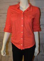 Michael Stars OS Pink Button Down Shirt Long Sleeve Cotton Modal Blend Collar