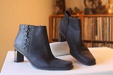 Etienne Aigner Saddle Black Leather Side Zipper Ankle Boots Size 8.5 M