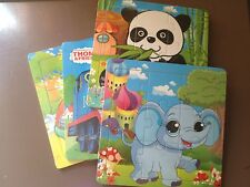 9 piece kids Wooden Animal Jigsaw  Puzzles Girls and Boys  Gift Ship Fast