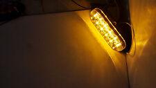 """1-6"""" Oval Flange Mount 10 LED Lens Amber Light Chrome Bezel Trailer Truck"""
