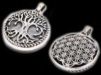 Lebensbaum Und Blume Des Lebens Anhänger Silber Gothic Schmuck - NEU