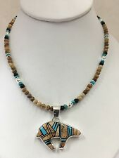 Native American Sterling Silver Navajo Jasper Stone Inlay Bear Necklace