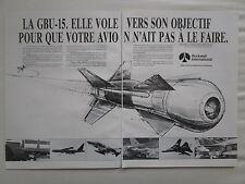 9/1984 PUB ROCKWELL DEFENSE ELECTRONICS BOMBE GBU-15 BOMB ORIGINAL FRENCH AD