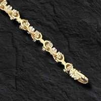 """14kt Solid Gold Men's Equestrian Link Bracelet- 8""""  9MM 47 grams"""