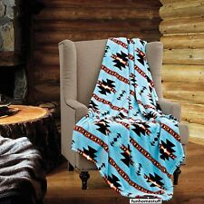 "Turquoise Native Luxury Soft Light Weight Fleece Cashmere Throw Blanket 60""x80"""