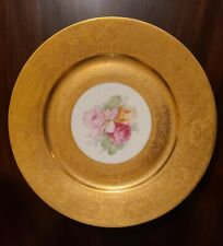 Unsigned Heinrich & Co Germany Gold Encrusted Floral Dinner Plate Le Roy Chicago