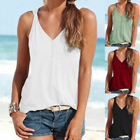 Womens Summer Casual Sleeveless Tank Tops Vest Beach T-Shirt Tee Shirt Blouse
