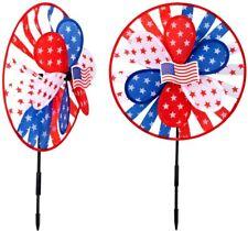 Set Of 2X July 4 Windmill Wind Spinner Home Yard Garden Decor