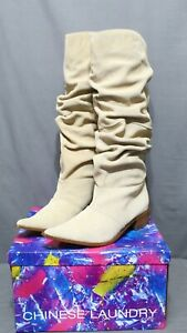 CHINESE LAUNDRY womens knee high slip on boots leather multiple sizes stone NEW