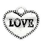 """Lot 5 ou 10 Pendentif Coeur Argenté """"LOVE"""" 13mm Breloques Charms Creation Bijoux"""
