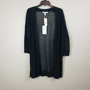 Tommy Bahama New With Tags Rhea Linen Blend Cardigan Black Lightweight