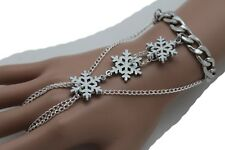 New Women Silver Metal Hand Chain Fashion Jewelry Ring Winter White Snowflakes
