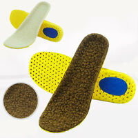 Warm Soft Sheep Fleece Wool Thermal Insoles Winter Shoes Inserts Pads Size 35-46