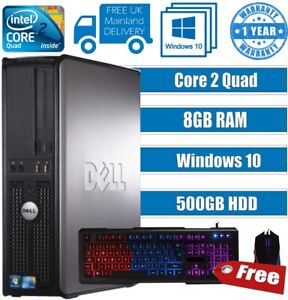 DELL QUAD CORE PC COMPUTER DESKTOP TOWER WIN 10 8GB 500GB HD GAMING LED KEYBOARD