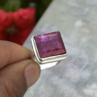 Unique Square Red Ruby 925 Sterling Silver July Birthstone Gift Ring Size 8