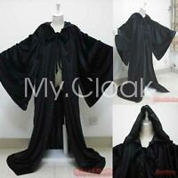 Black Velvet Cape Hooded Cloak Medieval Wizard Robes The Lord of the Rings stock