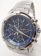 Seiko Solar Quartz Mens Blue Dial Chronograph Bracelet Dress Watch SSC141