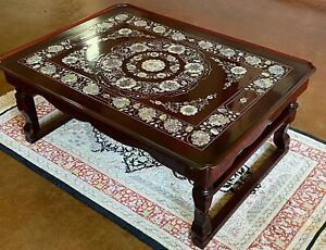 Antique Lacquer Table Mother of Pearl Korean Tea Coffee Bed Tray Inlaid Nacre