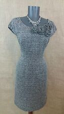 MUSE Sz 4 Women Black Ivory Tweed Boatneck Cap Sleeve Rosett Sheath Career Dress