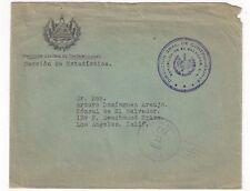 1939 San Salvador El Salvador, Official Mail to Los Angeles CA