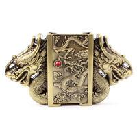 Men's Vintage Belt Buckle 3D Indian Removable Lighter Silver Cowboy Eagle Gun