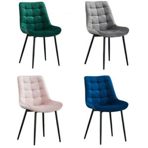 2 Dining Chairs Set Velvet Padded Seat Metal Legs Kitchen Chair Home Office