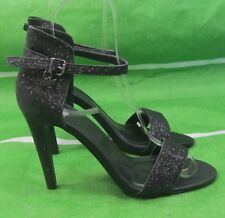 "new ladies Black 4.5""High Heel Open Toe Ankle Strap Sexy Shoes Size 5.5"