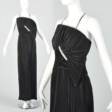 XS 1980s Mary McFadden Couture Black Pleated Asymmetric Dress Broomstick Pleat