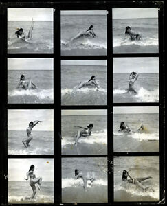 1954 Bunny Yeager Contact Sheet 12 Frames With Bettie Page Original Surf Poses