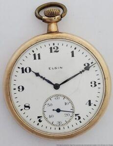 Vintage Elgin Grade 315 15j 12s Open Face Pocket Watch Running