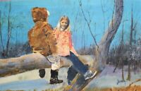 ORIGINAL WATERCOLOR PAINTING OF CHILDREN ARTIST SIGNED JOANNA KRASNANSKY