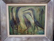 Beautiful Old Australian Painting Signed Albert Lee Tucker Ibis and Forest 1964