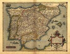 Large A1 Iberia Spain Portugal Majorca Menorca Ibiza Old Spanish Antique NEW Map