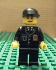 LEGO MINIFIGURE – TOWN CITY - POLICE – CITY SUIT, BLACK CAP, FROWN – GENTLY USED