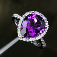 5.26ct Pear Cut Amethyst .45ct Diamonds 14K White Gold Pave Halo Engagement Ring