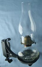 VINTAGE WROUGHT IRON WALL BRACKET KEROSENE LAMP BACKPLATE HOLDER FONT #2 BURNER