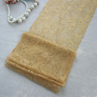 """7.87""""* 3Yds Gold Elastic Stretch Corded Tulle Lace Trim for Lingerie Garment"""