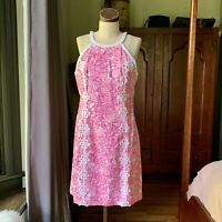 LILLY PULITZER NWOT Shift Cotton Crochet Pink White Dress SIZE 8 Spring Summer