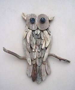 Unusual Large Driftwood Owl Wall Art Carved Wooden Wall Owl 60cm