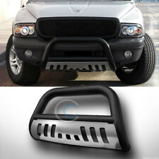 MATTE BLACK BULL BAR BRUSH BUMPER GUARD W/SS SKID PLATE 97-04 DAKOTA/98+ DURANGO
