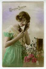 1920s Vintage Glamor Cute FRENCH w/ TELEPHONE photo postcard