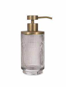 Adelphi Deco Smoke Glass & Brass Refill Pump Bottle, Soap Toiletries Dispenser