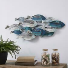 Blue Coastal School of Fish Metal Wall Art Nautical Beach Boat Elegant Decor