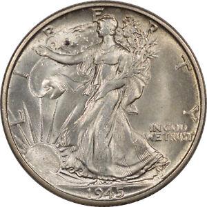 1945-S WALKING LIBERTY HALF DOLLAR  - UNCIRCULATED CHOICE+