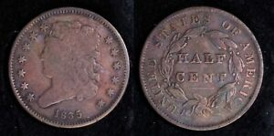 1835 Classic Head Half Cent 13 star Early Copper 1/2 Penny Low Mintage Nice Coin