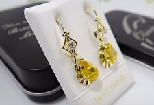 Earring Yellow Gem Stone, Personalized Jewelry 14K Real Solid Yellow Gold Dangle